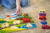 "Image of Vehicle & Travel Chunky Wooden Puzzle for Toddlers with ""Easy-Hold"" Colorful Solid Wood Pieces w/ Fire Truck, Bus, Plane"