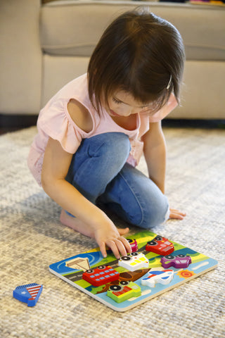 "Vehicle & Travel Chunky Wooden Puzzle for Toddlers with ""Easy-Hold"" Colorful Solid Wood Pieces w/ Fire Truck, Bus, Plane"