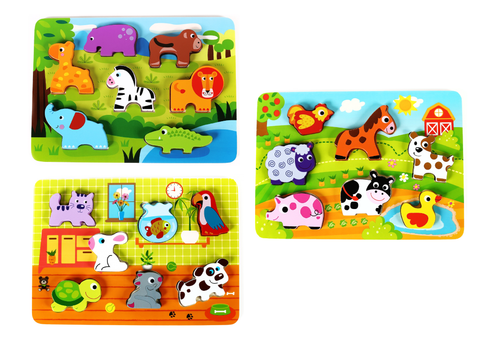 Classic Wooden Toy Truck With Animals With Detachable Trailer & Solid Wood Hippo, Giraffe, Zebra & Crocodile Pieces