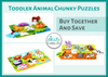 Image of Wooden Chunky Puzzle Pack of 3 Animal Puzzles for Toddlers, Preschool Age | Bundle Includes Wild Safari, Barnyard, Pet Animal Puzzles | Buy the Bundle & Save!