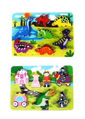 "Fun Wooden Chunky Puzzle Pack of 2 - Dinosaurs & Princess Castle - for Toddlers, Preschool Age w/ ""Easy-Hold"" Colorful Solid Wood Pieces"