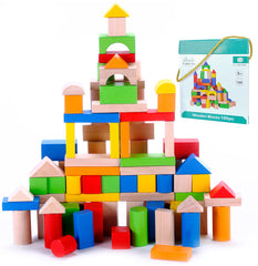 100 Piece Classic Wooden Building Block Set - Hardwood Plain & Colored Small Wood Blocks