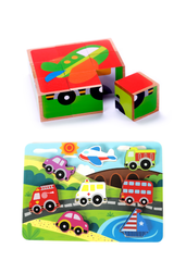 Vehicle Wooden Puzzle Pack of 2 (Cube Block & Chunky Puzzle Bundle) for Toddlers, Preschool Age w/ Colorful Solid Wood Cube Pieces, Fire Truck, Bus & Cars.