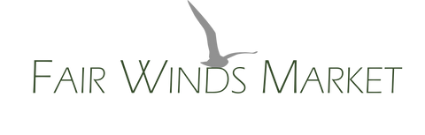 Fairwindsmarket.com logo.  Green letters with gray seagull resting on the words