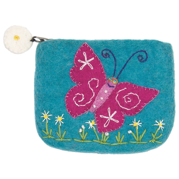 Handmade and Fair Trade | Felt Coin Purse - Magical Butterfly