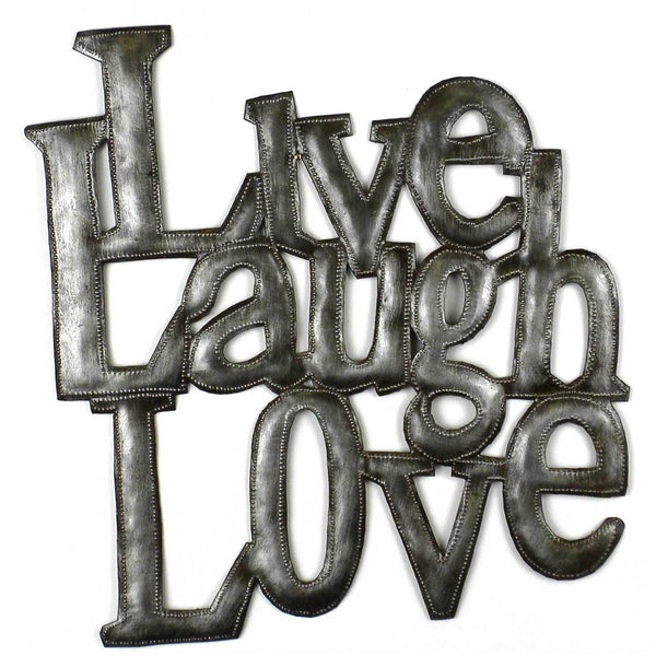 Handcrafted Love Laugh Live Metal Wall Art