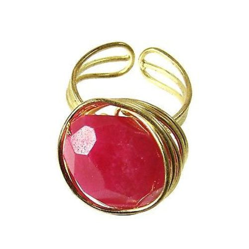 Handcrafted Agate Chunk Statement Ring in Berry
