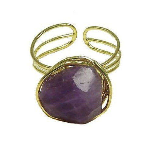 Handcrafted Agate Chunk Statement Ring in Plum