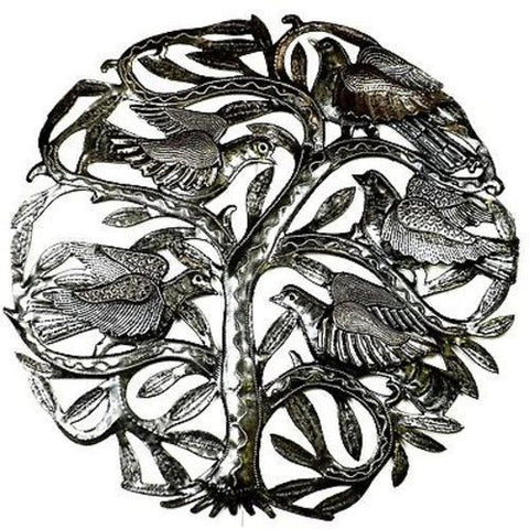 Handcrafted 24inch Tree of Life with 3D Birds Metal Art
