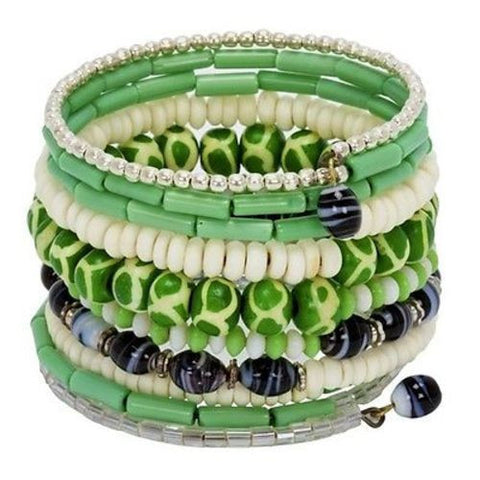 Handmade and Fair Trade | Ten Turn Bead and Bone Bracelet orest Greens