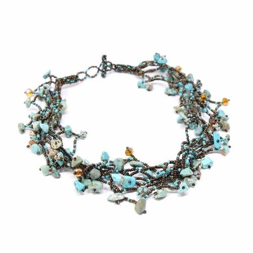 Chunky Stone Necklace - Turquoise - Lucias Imports (J)