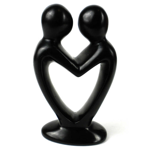 Soapstone Lovers Heart Black - 4 Inch