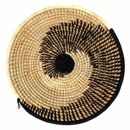 Woven Sisal Fruit Basket, Spiral Pattern in Natural/Black