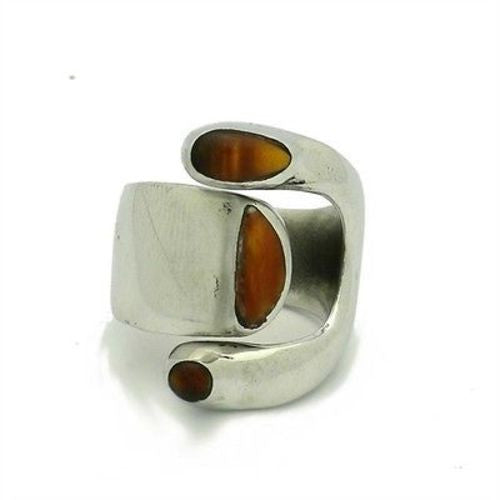 Handcrafted Tiger Eye and Alpaca Silver Wrap Ring