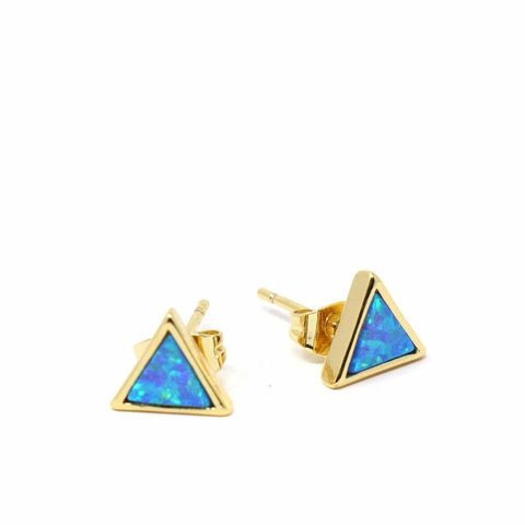 Gold and Blue Opal Triangle Stud Earrings - Starfish Project