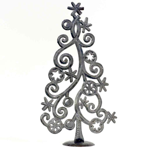 "Tabletop Christmas Tree with Stars and Snowflakes, Metal Art (14"" x 7.5"") - Croix des Bouquets (H)"