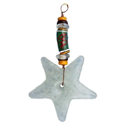 Adinkra Nyame Star Ornament White - Global Mamas (H)