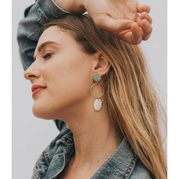 Dhavala Earrings - Teal Drop - Matr Boomie