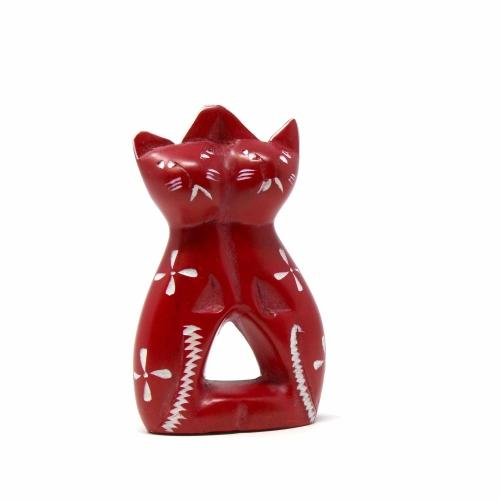 Handcrafted 4-inch Soapstone Love Cats Sculpture in Brick - Smolart