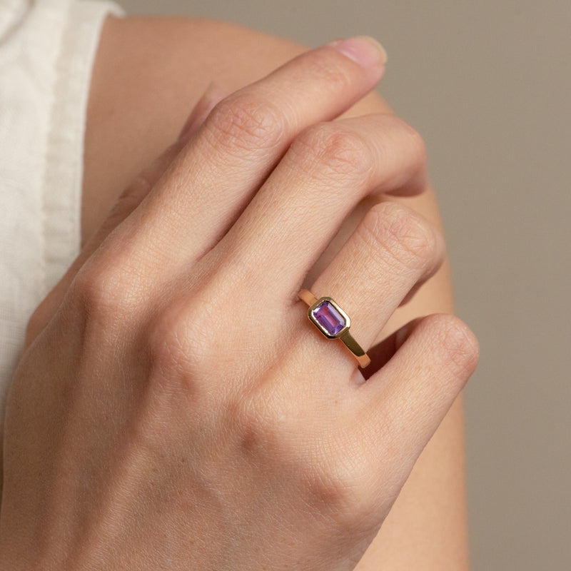 Isabel Amethyst gold ring worn on hand model