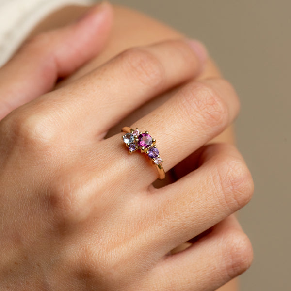 Margot Rhodolite and Amethyst cluster gold ring worn on hand model
