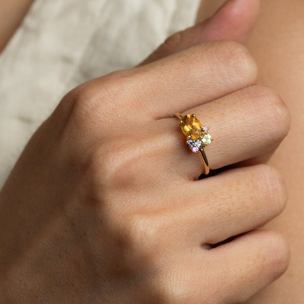 Tako Citrine cluster gold ring worn on hand model