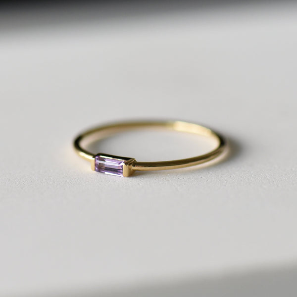 Amethyst on gold band Sienna side view