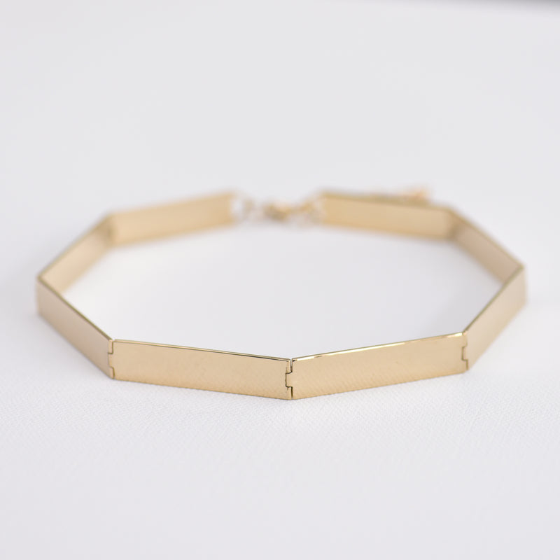 Gold panel collar necklace
