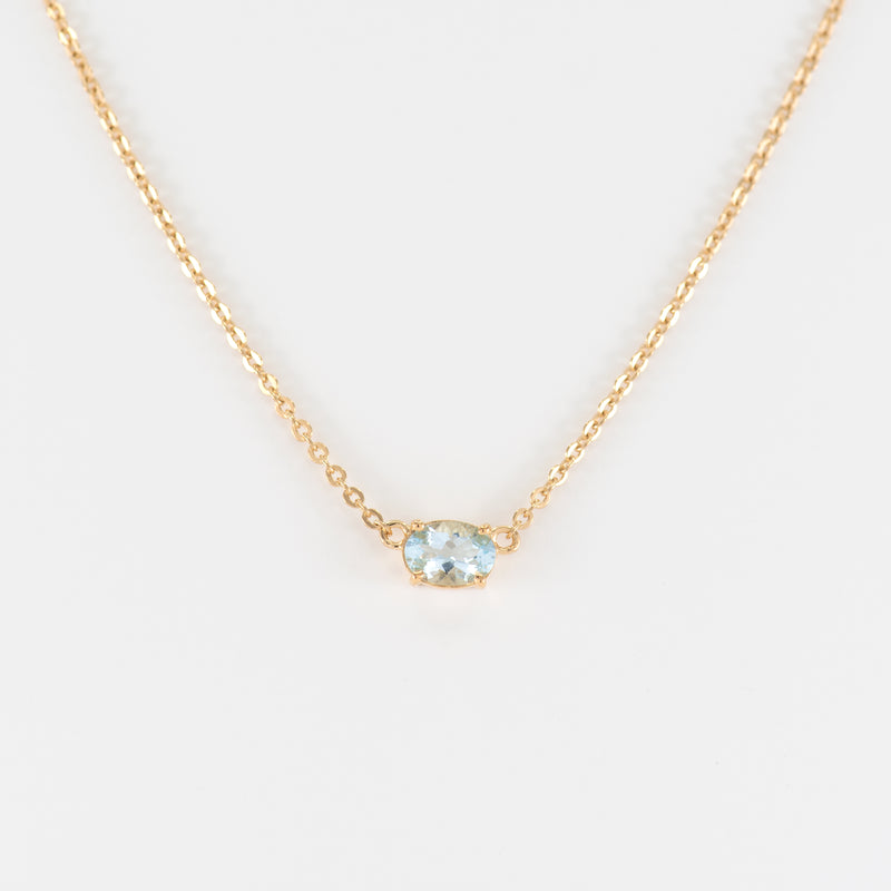Aquamarine Yellow Gold Necklace Teaghan