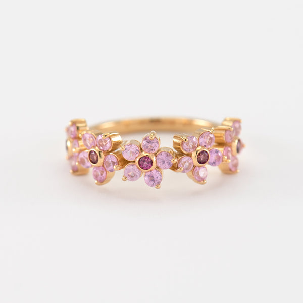 Yuri Sapphire Rhodolite Yellow Gold front view