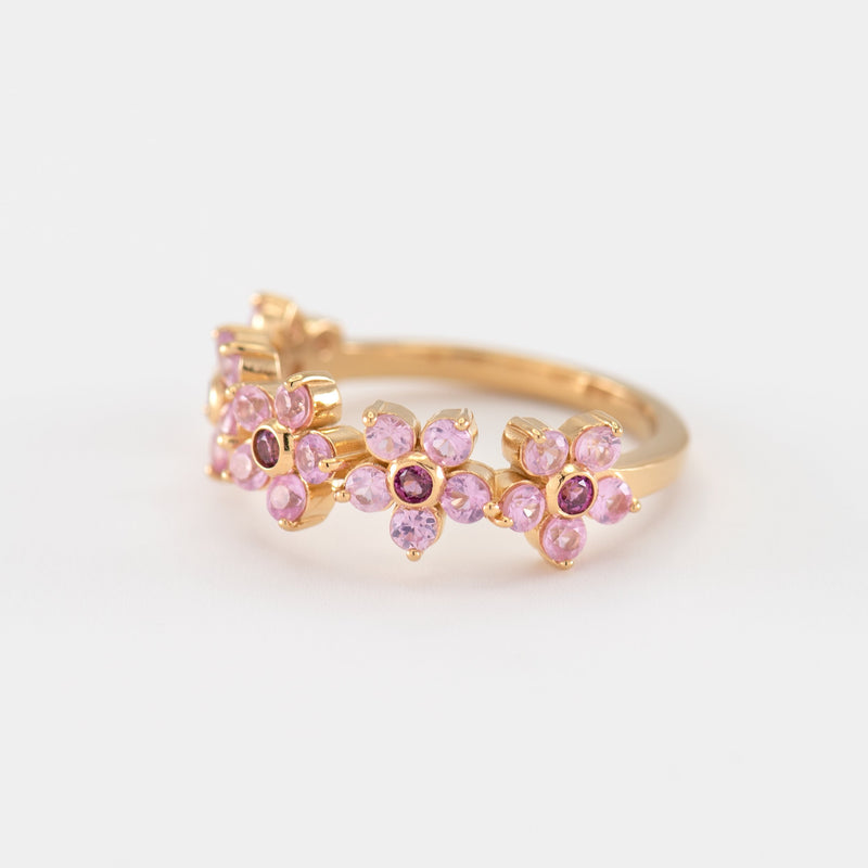 Yuri Sapphire Rhodolite Yellow Gold left view
