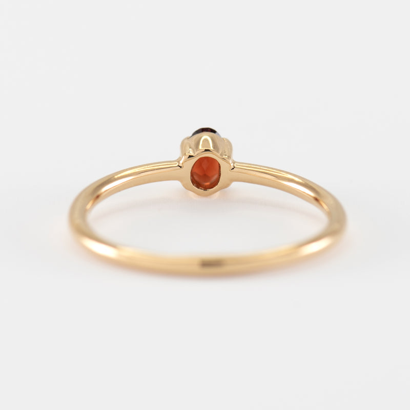 Red Garnet Gold ring Samantha back view