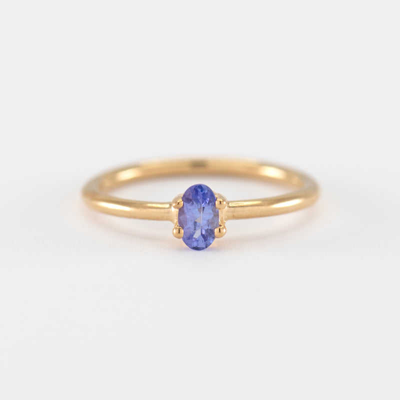 Tanzanite Gold ring Violet front view