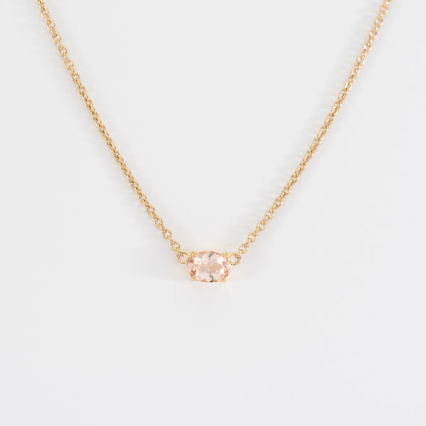 Morganite Yellow Gold Necklace Beth