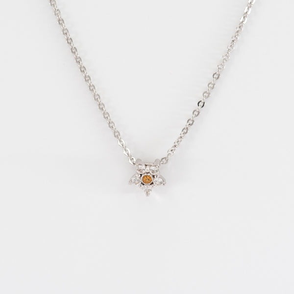 Citrine and Topaz White Gold Necklace Daisy