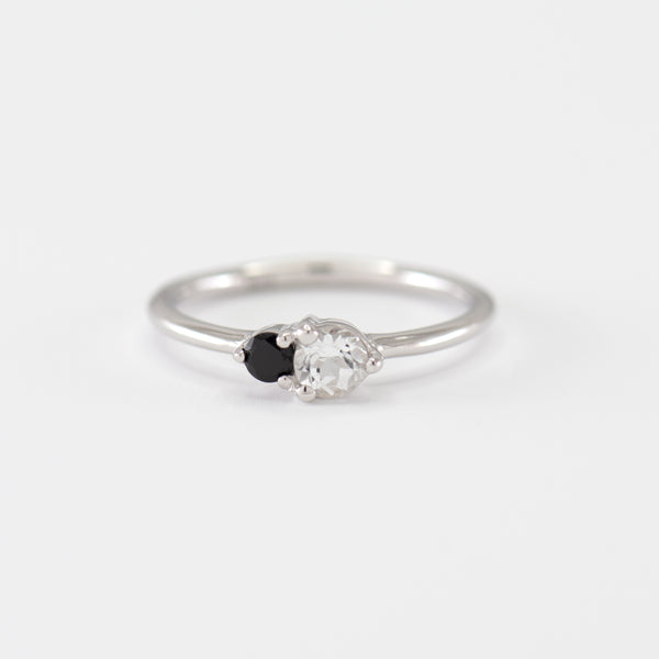 Ashley White Topaz and Onyx White Gold Ring