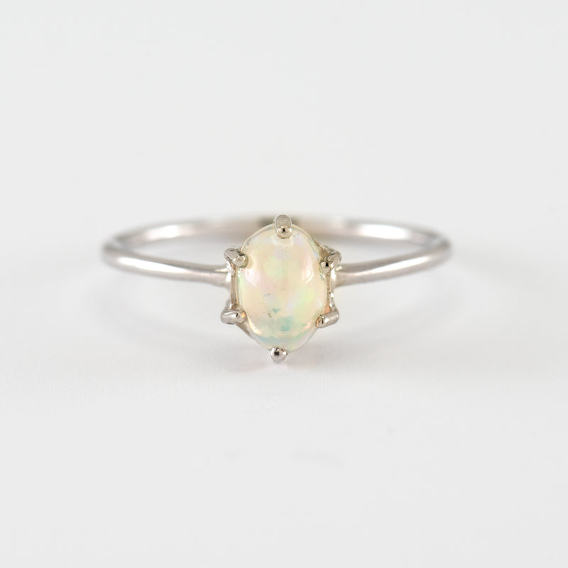 Opal white gold ring Estella front view