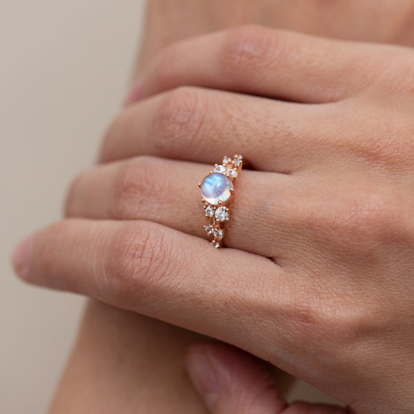 Moonstone White Topaz Ring Mizuki worn on hand model