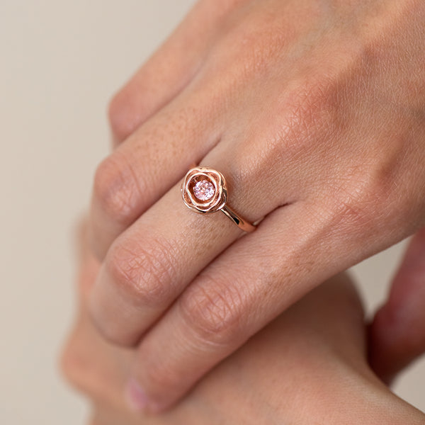 Morganite Rose gold ring Chellie worn on model