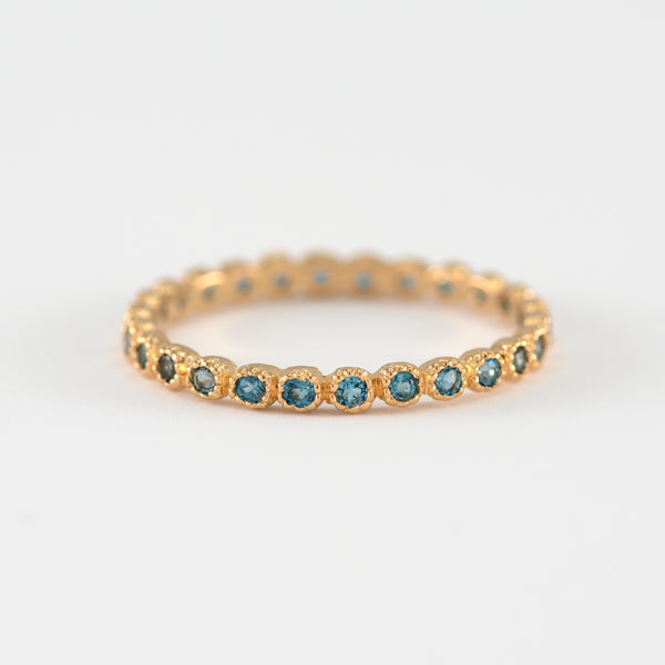 Blue Topaz eternity gold ring Kaylee