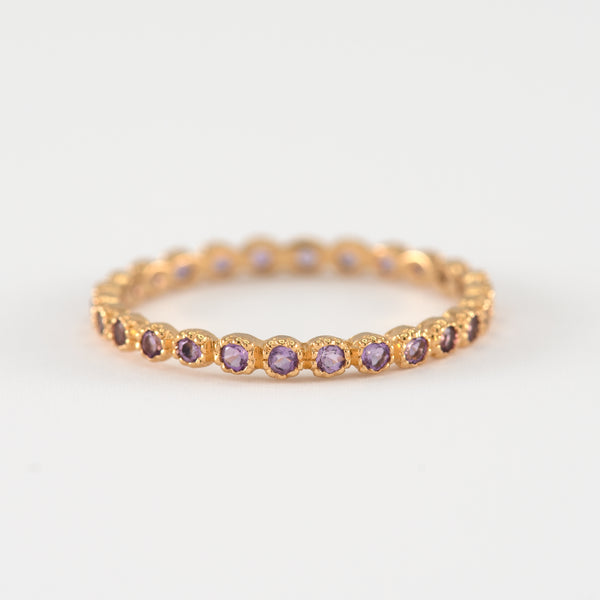 Amethyst eternity gold ring Serenity