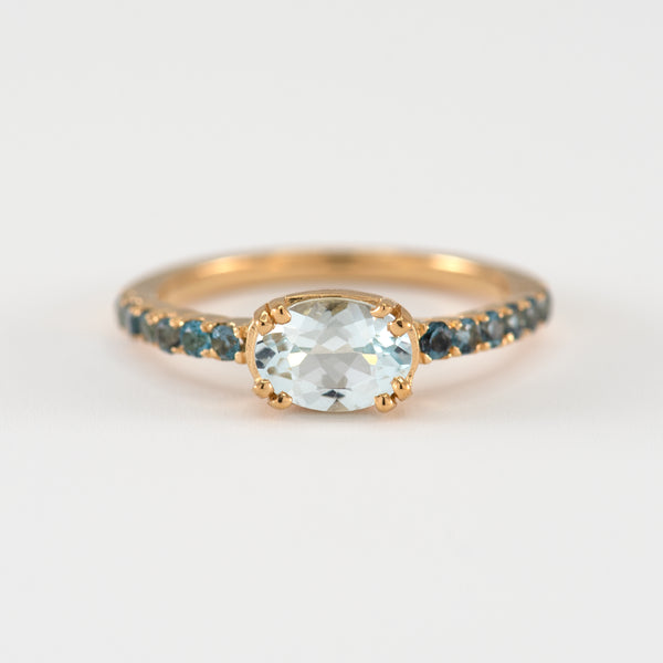 Aquamarine and Blue Topaz gold ring Naya