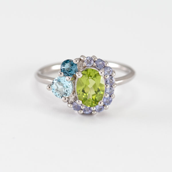 Peridot, Tanzanite, London Blue Topaz, and Blue Topaz white gold ring Marjorie