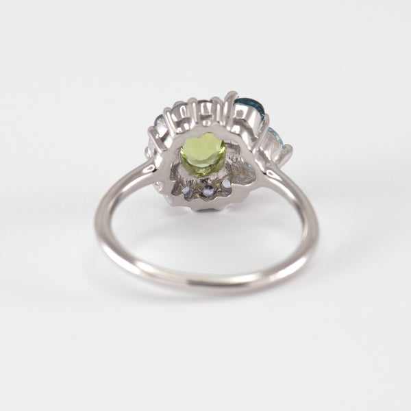 Peridot, Tanzanite, London Blue Topaz, and Blue Topaz white gold ring Marjorie back view