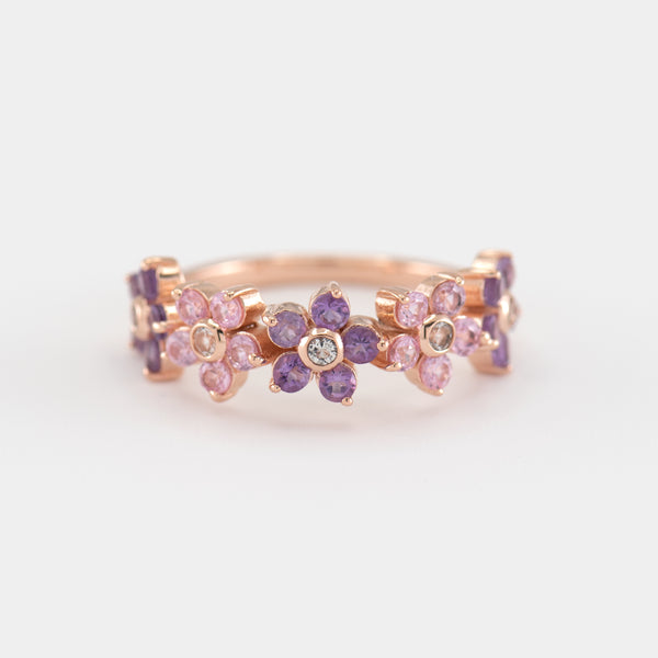 Charlotte Pink Sapphire and Amethyst Gold Ring front view