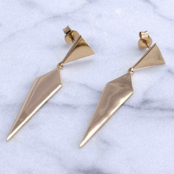 Gold triangle earrings Aria