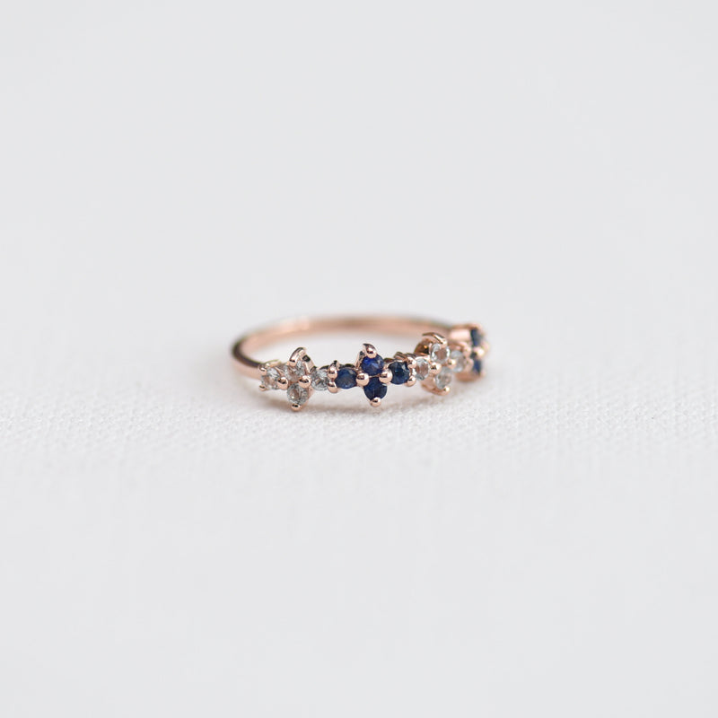 Sapphires and Topaz Ring Malli side view