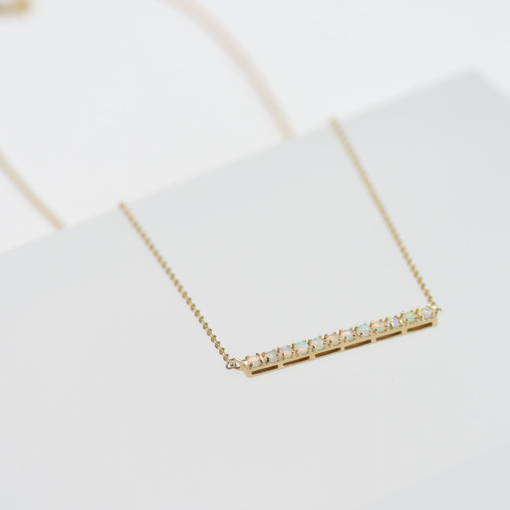 Opal bar on gold chain necklace