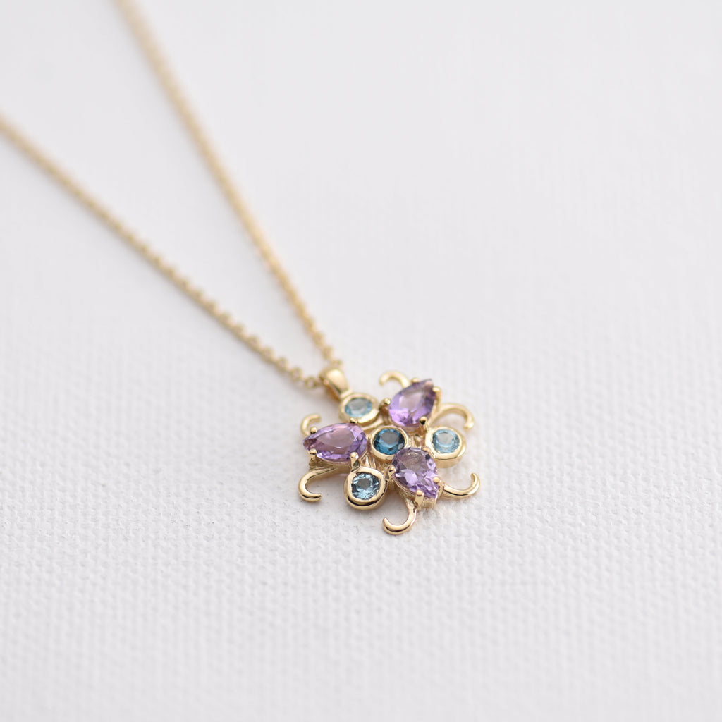 Amethyst Blue Topaz Gold Necklace Christel