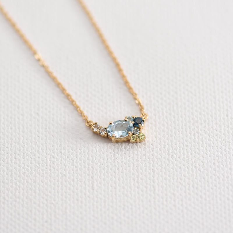 Elsa Aquamarine, Topaz, and Peridot necklace